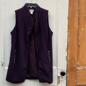 Chico's purple boiled wool vest Size Small